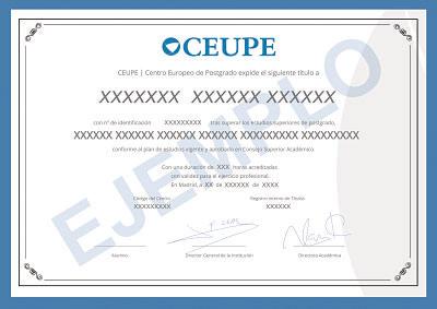 Título Maestría Profesional Centro Europeo de Postgrado - CEUPE